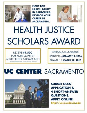Health Justice Scholars Award flyer